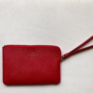 Coach: Red Leather Wristlet.